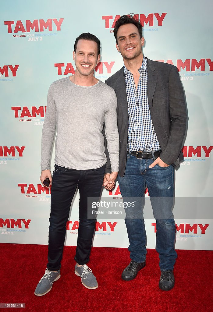 Actor Cheyenne Jackson and Jason Landau attend the premiere of Warner Bros Pictures' 'Tammy' at TCL Chinese Theatre on June 30 2014 in Hollywood...