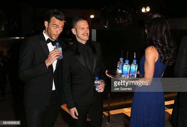 Actor Cheyenne Jackson and Jason Landau with FIJI Water At amfAR's Inspiration Gala Los Angeles at Milk Studios on October 29 2015 in Hollywood...