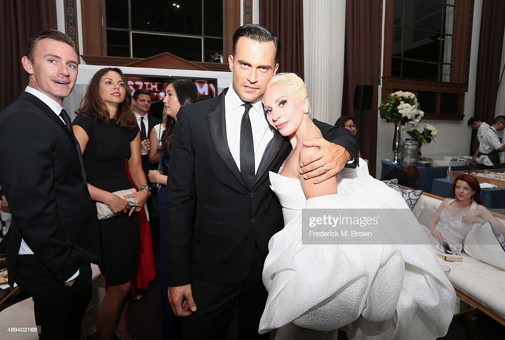 Actor Cheyenne Jackson and Lady Gaga attend the 67th Primetime Emmy Awards Fox after party on September 20 2015 in Los Angeles California
