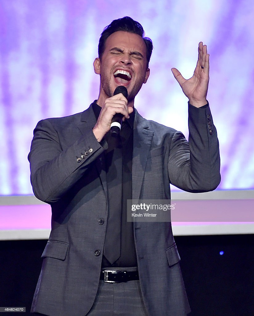 Actor Cheyenne Jackson sings onstage during the Family Equality Council's 2015 Los Angeles Awards dinner at The Beverly Hilton Hotel on February 28...