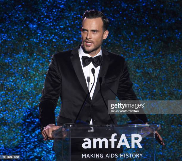 Actor Cheyenne Jackson speaks onstage at the amfAR Gala Los Angeles 2017 at Ron Burkle's Green Acres Estate on October 13 2017 in Beverly Hills...