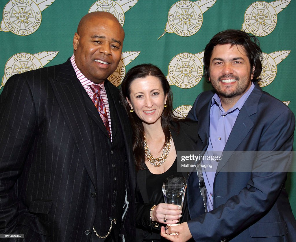 Actor <a gi-track='captionPersonalityLinkClicked' href=/galleries/search?phrase=Chi+McBride&family=editorial&specificpeople=227026 ng-click='$event.stopPropagation()'>Chi McBride</a>, Juli Goodwin and Lance Volland, recipients of the Maxwell Weinberg Award for Best Publicity Campaign for a Motion Picture attend the 50th Annual ICG Publicists Awards which took place at The Beverly Hilton Hotel on February 22, 2013 in Beverly Hills, California.