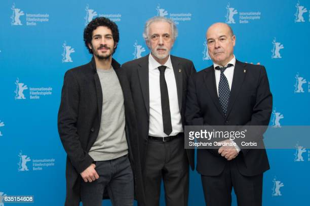 Actor Chino Darin director Fernando Trueba and actor Antonio Resines attend the 'The Queen of Spain' photo call during the 67th Berlinale...