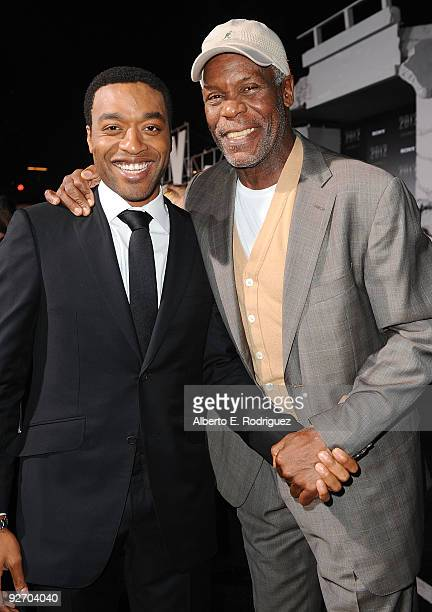 Actor Chiwetel Ejiofor and actor Danny Glover arrive at the premiere of Columbia Pictures' '2012' at the Regal Cinemas LA live on November 3 2009 in...