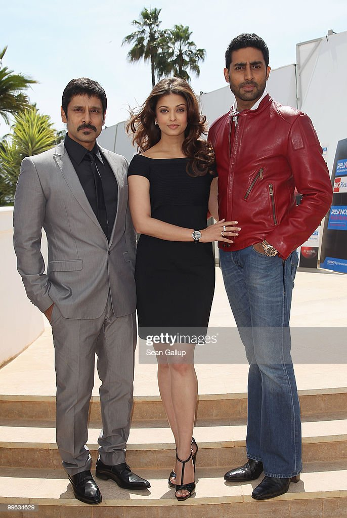 Actor 'Chiyaan' Vikram, Actress <a gi-track='captionPersonalityLinkClicked' href=/galleries/search?phrase=Aishwarya+Rai&family=editorial&specificpeople=202237 ng-click='$event.stopPropagation()'>Aishwarya Rai</a> Bachchan, <a gi-track='captionPersonalityLinkClicked' href=/galleries/search?phrase=Abhishek+Bachchan&family=editorial&specificpeople=549431 ng-click='$event.stopPropagation()'>Abhishek Bachchan</a> attend the 'Raavan' Photocall at the Salon Diane at The Majestic during the 63rd Annual Cannes Film Festival on May 17, 2010 in Cannes, France.