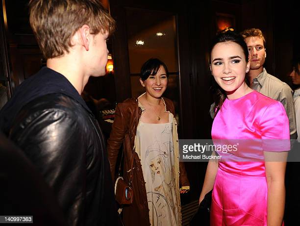 Actor Chord Overstreet actress Zelda Williams and actress Lily Collins attend the celebration of the NYLON Magazine's March Issue hosted by Coach at...