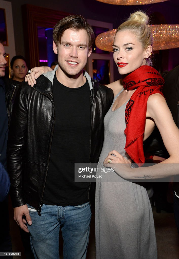 Actor Chord Overstreet and Model Jaime King attend the opening of Restoration Hardware West Hollywood The Gallery on Melrose Avenue on October 22...