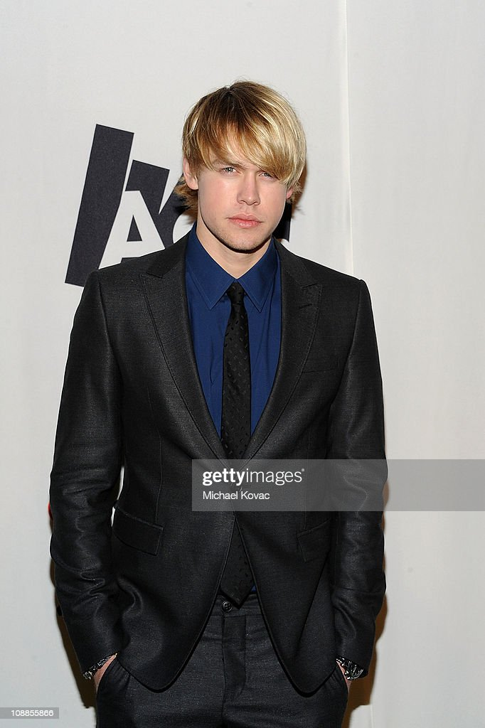 Actor Chord Overstreet poses with AOL at the Maxim Party Powered by Motorola Xoom at Centennial Hall at Fair Park on February 5, 2011 in Dallas, Texas.