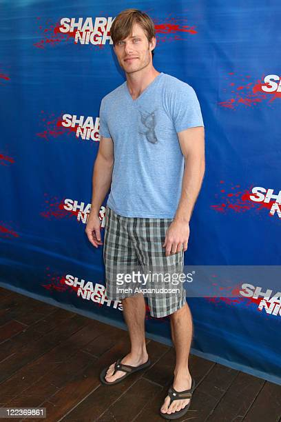 Actor Chris Carmack arrives at the 'Swimming with the Sharks' pool party in celebration of the release of 'Shark Night 3D' at Hotel ShangriLa on...