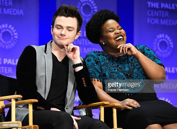 Actor Chris Colfer and Amber Riley on stage at The Paley Center For Media's 32nd Annual PALEYFEST LA 'Glee' at Dolby Theatre on March 13 2015 in...