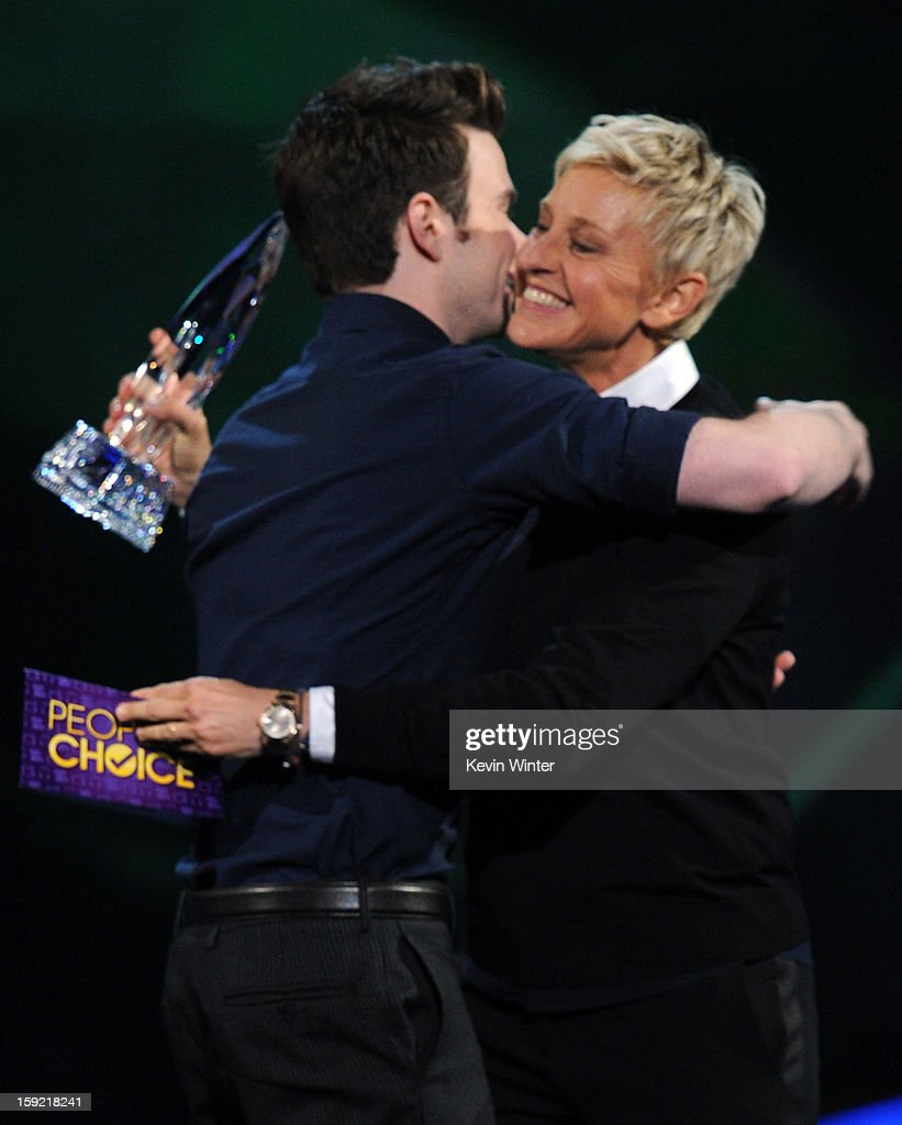Actor <a gi-track='captionPersonalityLinkClicked' href=/galleries/search?phrase=Chris+Colfer&family=editorial&specificpeople=5662110 ng-click='$event.stopPropagation()'>Chris Colfer</a> and comedian Ellen Degeneres onstage at the 39th Annual People's Choice Awards at Nokia Theatre L.A. Live on January 9, 2013 in Los Angeles, California.