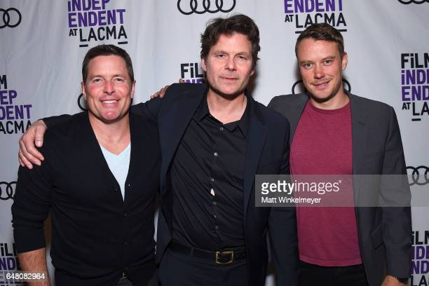 Actor Chris Conrad Executive Producer/creator Steve Conrad and actor Michael Dorman attend the Film Independent at LACMA screening of 'Patriot' at...