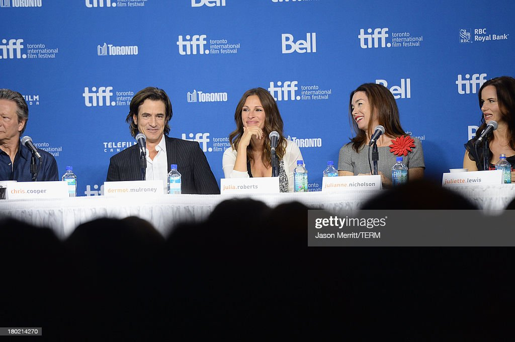 Actor Chris Cooper, actor Dermot Mulroney, actress Julia Roberts, actress Julianne Nicholson, actress Juliette Lewis speak onstage at 'August: Osage County' Press Conference during the 2013 Toronto International Film Festival at TIFF Bell Lightbox on September 10, 2013 in Toronto, Canada.
