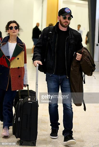 SYDNEY NSW Actor Chris Evans and actress Jenny Slate arrive at Sydney Airport in Sydney New South Wales