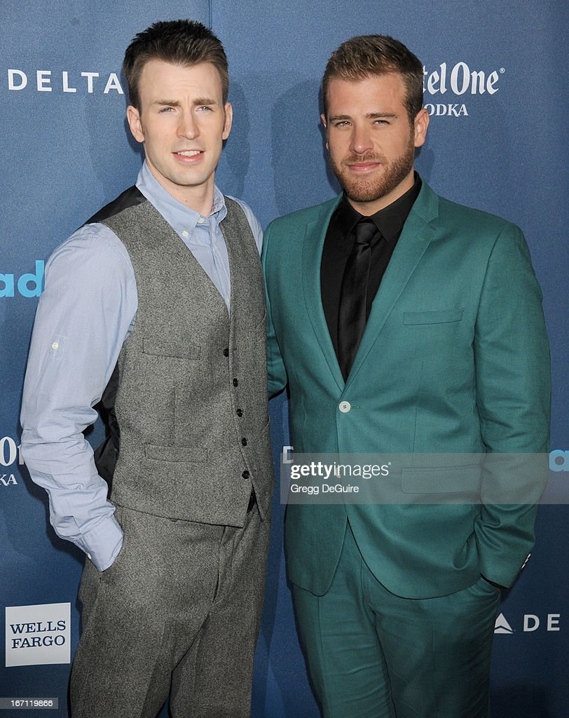 Actor Chris Evans and brother Scott Evans arrive at the 24th Annual GLAAD Media Awards at JW Marriott Los Angeles at L.A. LIVE on April 20, 2013 in Los Angeles, California.