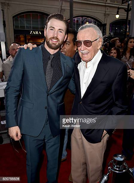 Actor Chris Evans and executive producer Stan Lee attend the premiere of Marvel's 'Captain America Civil War' at Dolby Theatre on April 12 2016 in...
