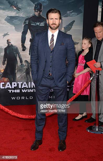 Actor Chris Evans arrives for the premiere of Marvel's 'Captain America The Winter Soldier' at the El Capitan Theatre on March 13 2014 in Hollywood...