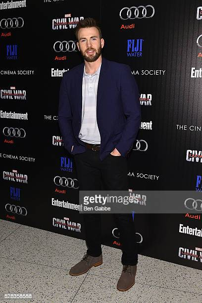 Actor Chris Evans attends a screening of Marvel's 'Captain America Civil War' hosted by The Cinema Society with Audi FIJI on May 04 2016 in New York...