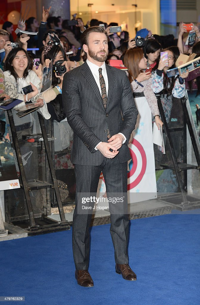 Actor <a gi-track='captionPersonalityLinkClicked' href=/galleries/search?phrase=Chris+Evans+-+Actor&family=editorial&specificpeople=6873149 ng-click='$event.stopPropagation()'>Chris Evans</a> attends the 'Captain America: The Winter Soldier' UK film premiere at Westfield on March 20, 2014 in London, England.