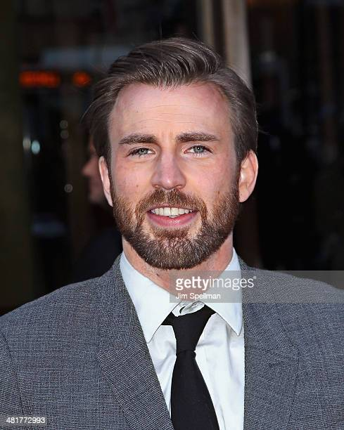 Actor Chris Evans attends The Cinema Society Screening of 'Captain America The Winter Soldier' Screening at Tribeca Grand Hotel on March 31 2014 in...