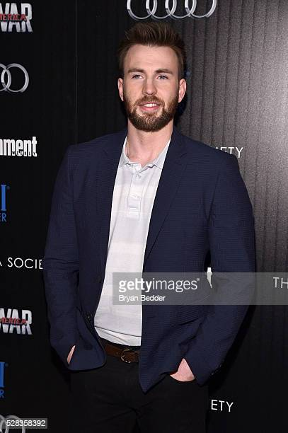 Actor Chris Evans attends the Cinema Society with Audi and FIJI Water host a screening of Marvel's 'Captain America Civil War' on May 4 2016 in New...