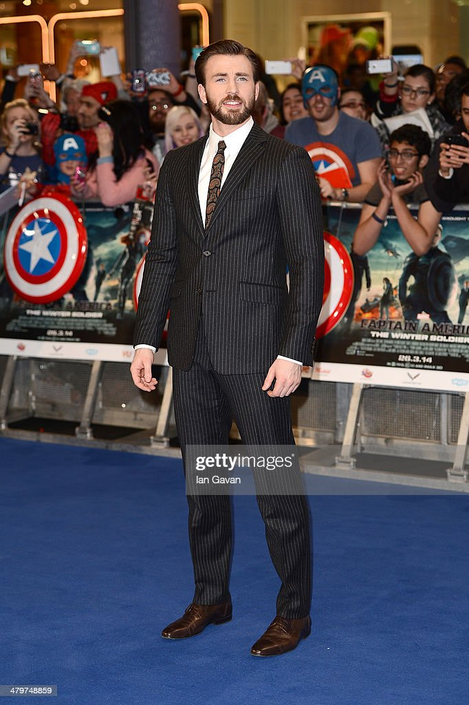 Actor <a gi-track='captionPersonalityLinkClicked' href=/galleries/search?phrase=Chris+Evans+-+Actor&family=editorial&specificpeople=6873149 ng-click='$event.stopPropagation()'>Chris Evans</a> attends the UK Film Premiere of 'Captain America: The Winter Soldier' at Westfield London on March 20, 2014 in London, England.