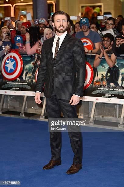 Actor Chris Evans attends the UK Film Premiere of 'Captain America The Winter Soldier' at Westfield London on March 20 2014 in London England