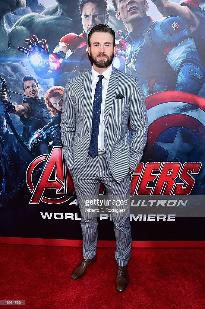 Actor <a gi-track='captionPersonalityLinkClicked' href=/galleries/search?phrase=Chris+Evans+-+Actor&family=editorial&specificpeople=6873149 ng-click='$event.stopPropagation()'>Chris Evans</a> attends the world premiere of Marvel's 'Avengers: Age Of Ultron' at the Dolby Theatre on April 13, 2015 in Hollywood, California.