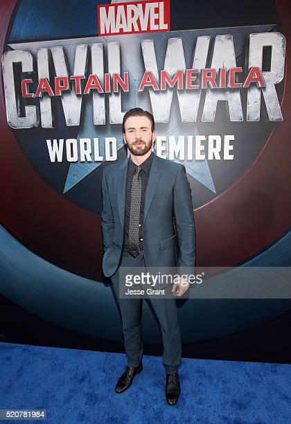 Actor Chris Evans attends The World Premiere of Marvel's 'Captain America Civil War' at Dolby Theatre on April 12 2016 in Los Angeles California