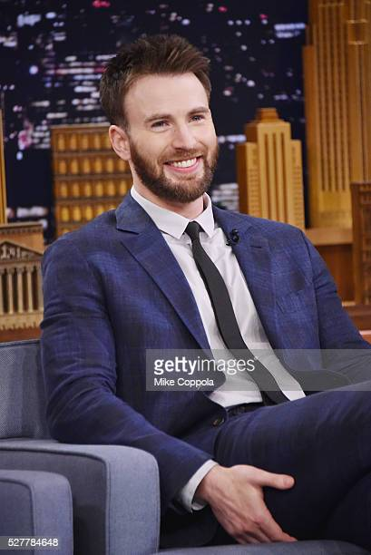 Actor Chris Evans is interviewed by host Jimmy Fallon during his visit 'The Tonight Show Starring Jimmy Fallon' on May 03 2016 in New York New York