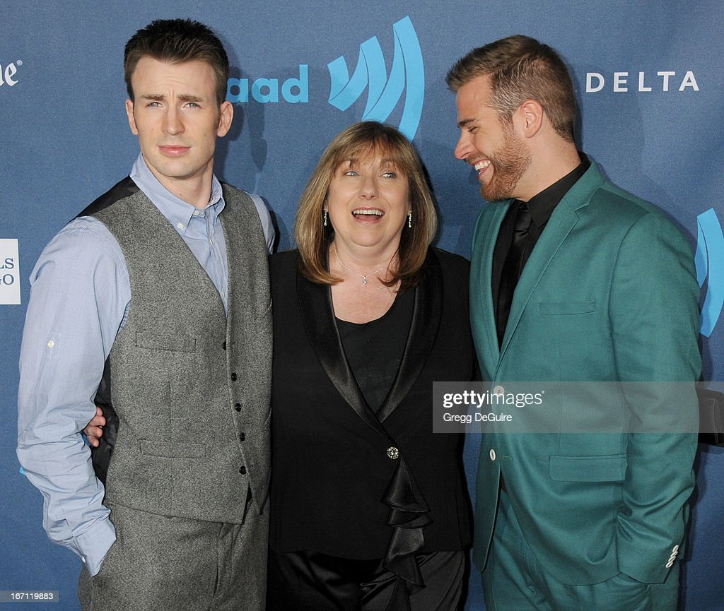 Actor Chris Evans, mom Lisa Evans and brother Scott Evans arrive at the 24th Annual GLAAD Media Awards at JW Marriott Los Angeles at L.A. LIVE on April 20, 2013 in Los Angeles, California.