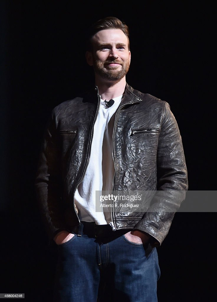 Actor <a gi-track='captionPersonalityLinkClicked' href=/galleries/search?phrase=Chris+Evans+-+Actor&family=editorial&specificpeople=6873149 ng-click='$event.stopPropagation()'>Chris Evans</a> onstage during Marvel Studios fan event at The El Capitan Theatre on October 28, 2014 in Los Angeles, California.