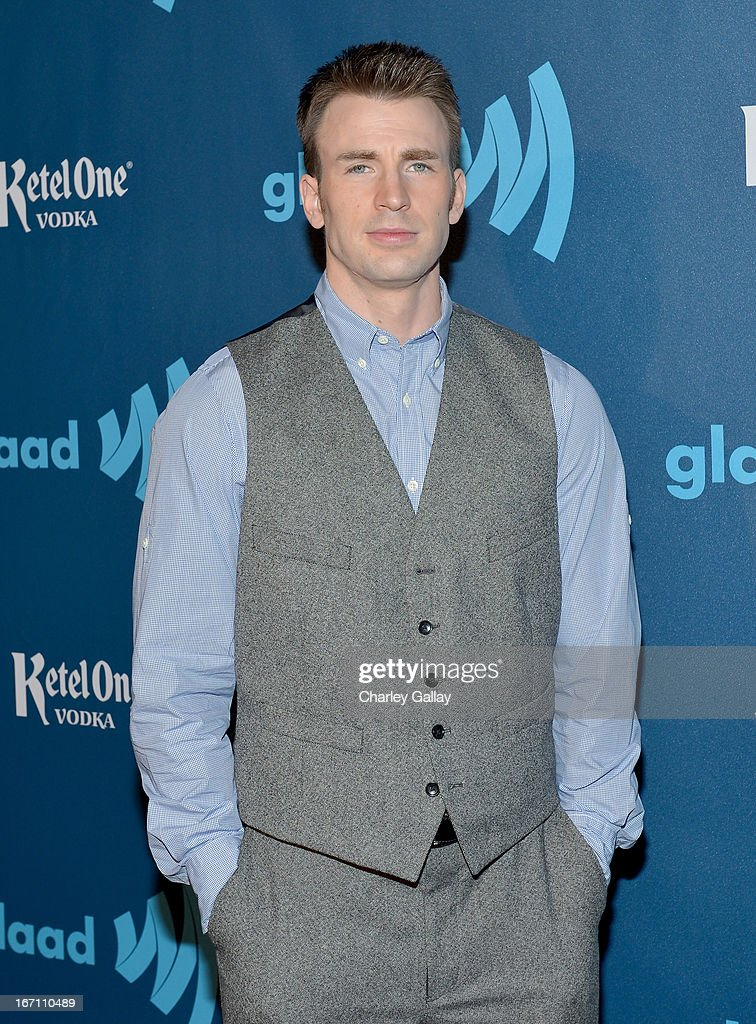 Actor <a gi-track='captionPersonalityLinkClicked' href=/galleries/search?phrase=Chris+Evans+-+Actor&family=editorial&specificpeople=6873149 ng-click='$event.stopPropagation()'>Chris Evans</a> poses in the VIP Red Carpet Suite at the 24th Annual GLAAD Media Awards hosted by Ketel One at JW Marriott Los Angeles at L.A. LIVE on April 20, 2013 in Los Angeles, California.