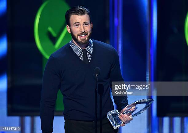 Actor Chris Evans speaks onstage at The 41st Annual People's Choice Awards at Nokia Theatre LA Live on January 7 2015 in Los Angeles California
