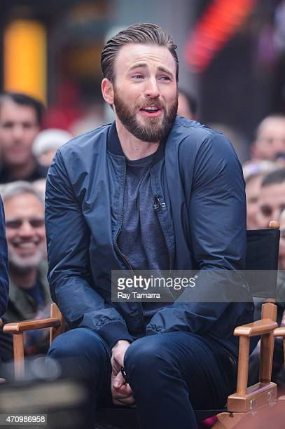 Actor Chris Evans tapes an interview at 'Good Morning America' at the ABC Times Square Studios on April 24 2015 in New York City