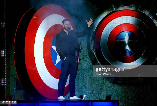 Actor Chris Evans walks onstage during Nickelodeon's 2016 Kids' Choice Awards at The Forum on March 12 2016 in Inglewood California