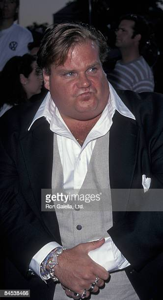 Actor Chris Farley attends the premiere of 'Excess Baggage' on August 25 1997 at Mann Village Theater in Westwood California