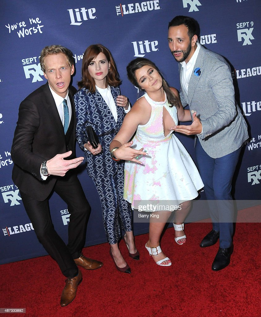 Actor Chris Geere, actress Aya Cash, actress Kether Donohue and actor Desmin Borges attend the premiere of FXX's 'The League' final season and 'You're The Worst' 2nd season at the Regency Bruin Theater on September 8, 2015 in Westwood, California.