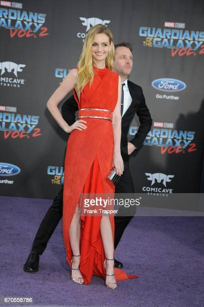 Actor Chris Hardwick and model Lydia Hearst attend the premiere of Disney and Marvel's 'Guardians Of The Galaxy Vol 2' at the Dolby Theatre on April...