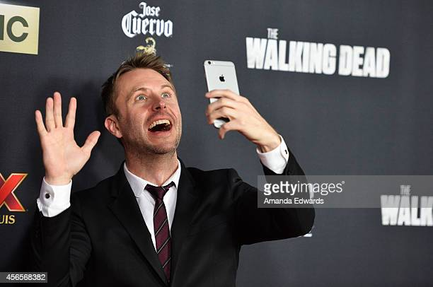 Actor Chris Hardwick arrives at the Season 5 premiere of AMC's 'The Walking Dead' at AMC Universal City Walk on October 2 2014 in Universal City...