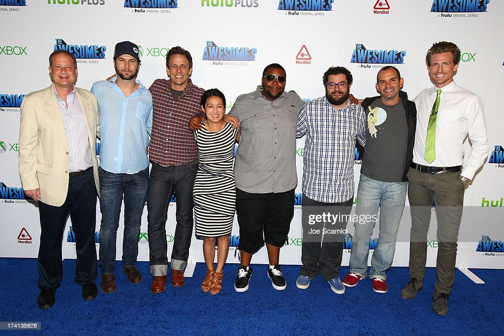 Actor Chris Hardwick, producer Michael Shoemaker, actors Taran Killam, Seth Meyers, guest, Keenan Thompson, Bobby Moynihan, writer Judd Winick, and actor Josh Meyers attend 'The Awesomes' VIP After-Party sponsored by Hulu and Xbox at Andaz on July 20, 2013 in San Diego, California.