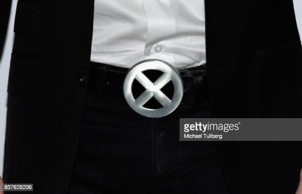 Actor Chris Hardwick 'XMen' belt buckle detail attends the 'Extraordinary Stan Lee' tribute event at Saban Theatre on August 22 2017 in Beverly Hills...