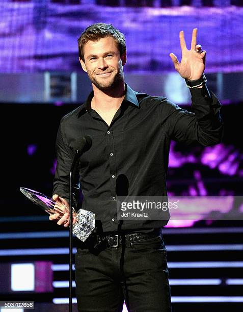 Actor Chris Hemsworth accepts award onstage during the People's Choice Awards 2016 at Microsoft Theater on January 6 2016 in Los Angeles California