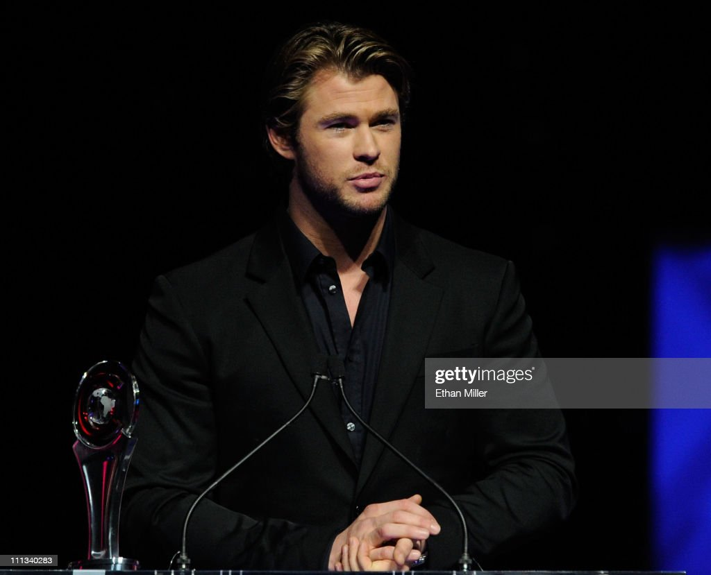 Actor Chris Hemsworth accepts the Male Star of Tomorrow award at the CinemaCon awards ceremony at The Colosseum at Caesars Palace during CinemaCon, the official convention of the National Association of Theatre Owners, March 31, 2011 in Las Vegas, Nevada.