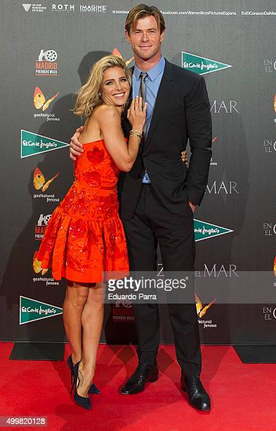 Actor Chris Hemsworth and actress Elsa Pataky attend 'En el corazon del mar' premiere at Callao cinema on December 3 2015 in Madrid Spain