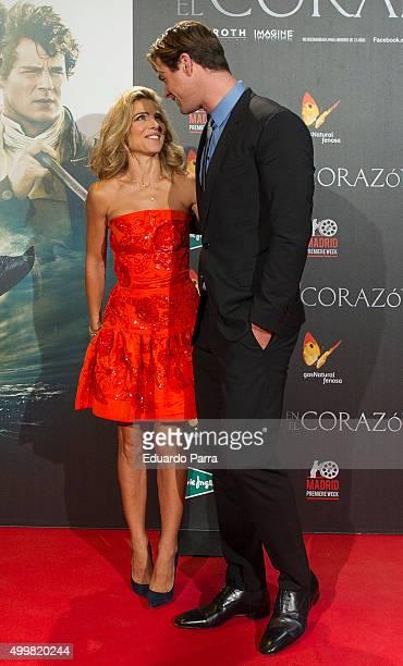 Actor Chris Hemsworth and actress Elsa Pataky attend 'En el corazon del mar' premiere at Callao cinema on December 3 2015 in Madrid Spain