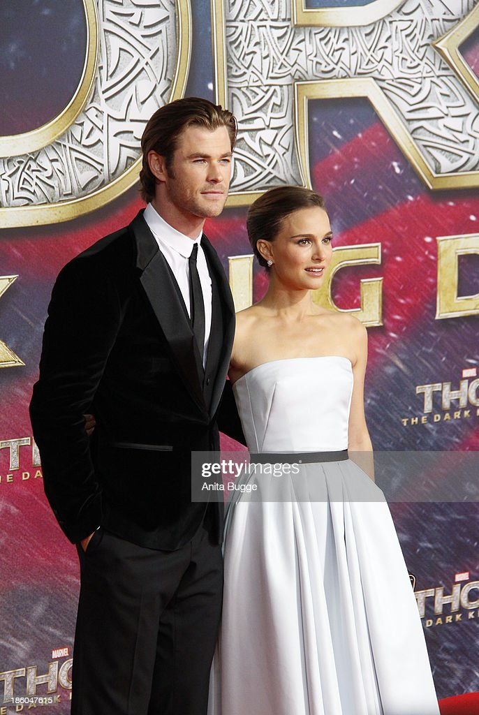 Actor <a gi-track='captionPersonalityLinkClicked' href=/galleries/search?phrase=Chris+Hemsworth&family=editorial&specificpeople=646776 ng-click='$event.stopPropagation()'>Chris Hemsworth</a> and actress <a gi-track='captionPersonalityLinkClicked' href=/galleries/search?phrase=Natalie+Portman&family=editorial&specificpeople=202035 ng-click='$event.stopPropagation()'>Natalie Portman</a> attend the 'Thor: The Dark World' Germany premiere at Cinestar on October 27, 2013 in Berlin, Germany.