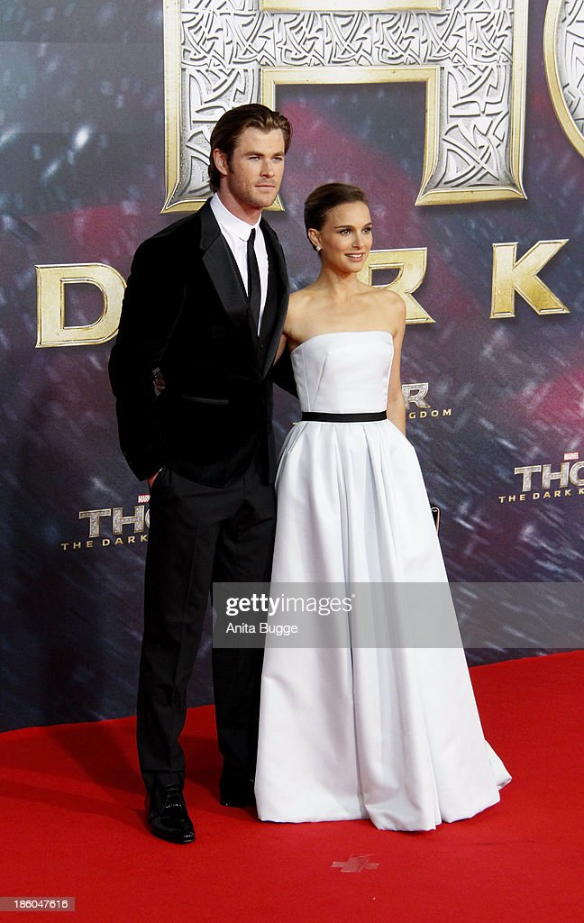 Actor Chris Hemsworth and actress Natalie Portman attend the 'Thor: The Dark World' Germany premiere at Cinestar on October 27, 2013 in Berlin, Germany.