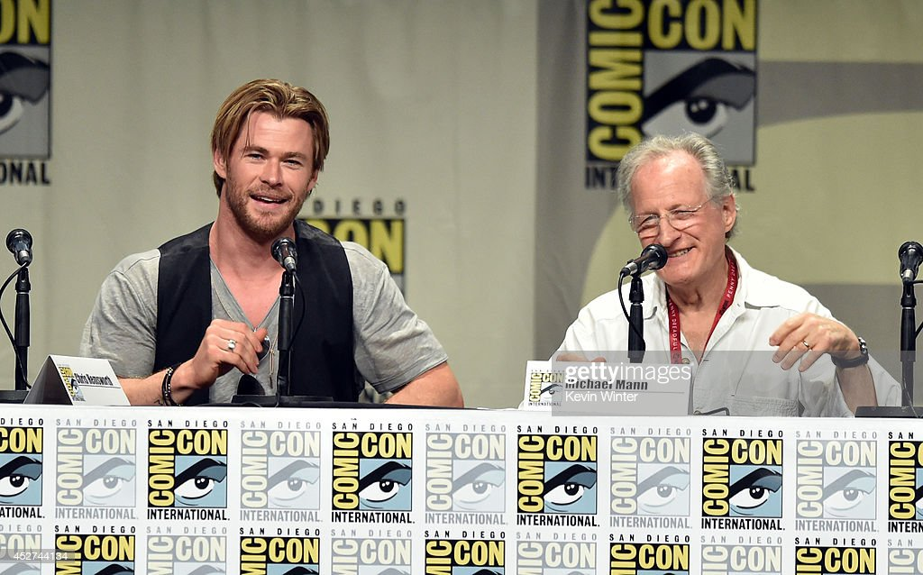 Actor <a gi-track='captionPersonalityLinkClicked' href=/galleries/search?phrase=Chris+Hemsworth&family=editorial&specificpeople=646776 ng-click='$event.stopPropagation()'>Chris Hemsworth</a> (L) and director <a gi-track='captionPersonalityLinkClicked' href=/galleries/search?phrase=Michael+Mann&family=editorial&specificpeople=203157 ng-click='$event.stopPropagation()'>Michael Mann</a> attend the Legendary Pictures preview and panel during Comic-Con International 2014 at San Diego Convention Center on July 26, 2014 in San Diego, California.