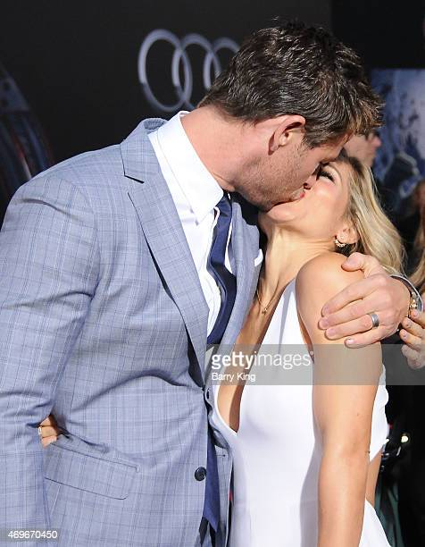 Actor Chris Hemsworth and his wife actress Elsa Pataky arrive at the Premiere Of Marvel's 'Avengers Age Of Ultron' at the Dolby Theatre on April 13...